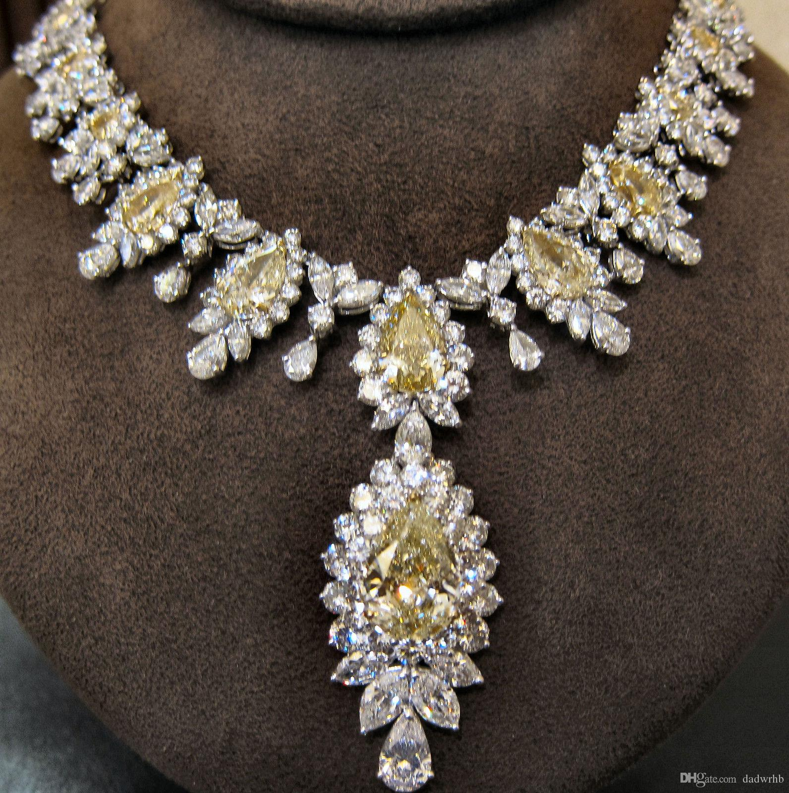 Wholesale FANCY YELLOW DIAMOND NECKLACE PEAR SHAPE 9 01 CT PEAR