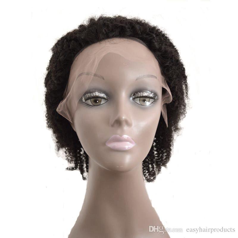 Parrucche piene del merletto malese ricce crespo 8-30 pollici parrucche non trattate dei capelli umani le donne nere capelli G-EASY