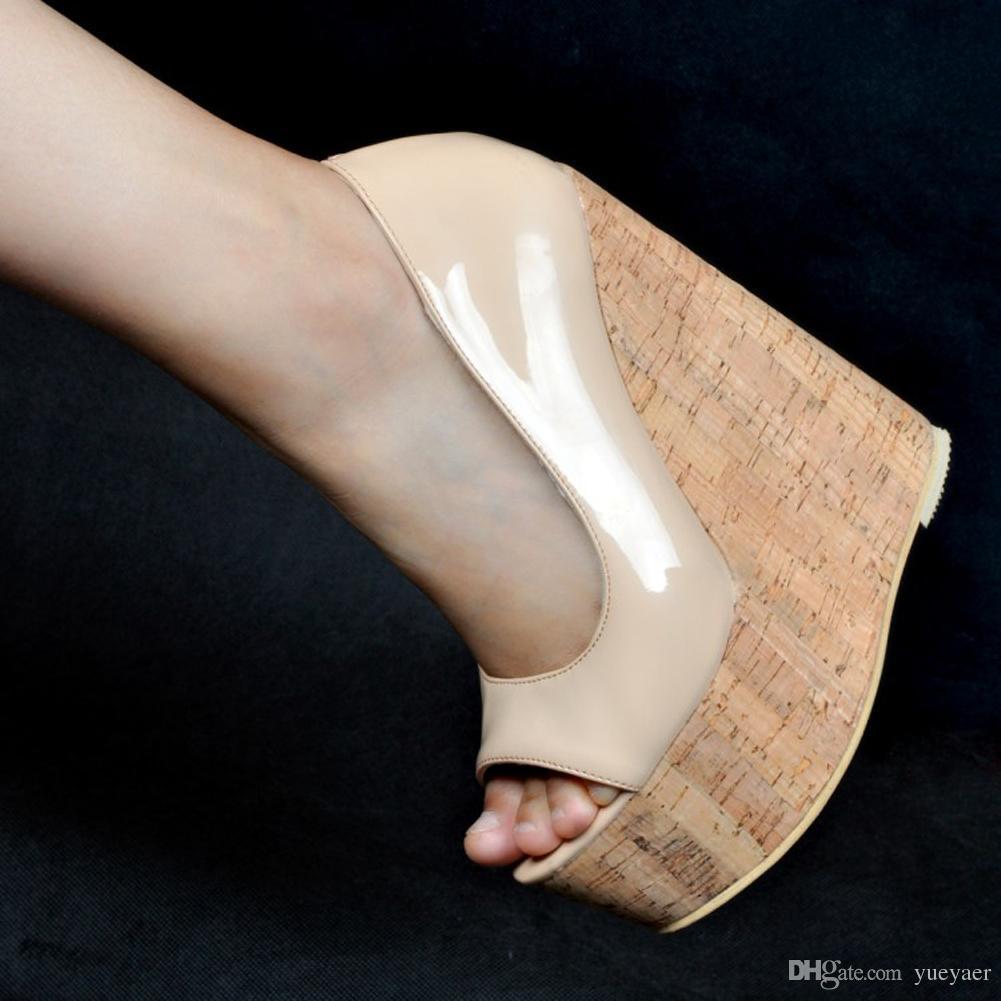 Zandina Toptan Eşya Bayan Moda el yapımı 15cm burnu Wadge Topuk Parti Balo Sandalet Bej MYXD033
