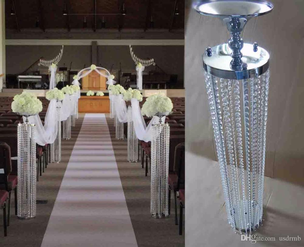 Best wedding aisle crystal pillar silver flower stand for Decoration de stand