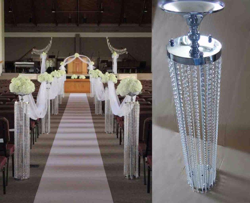 Best Wedding Aisle Crystal Pillar Silver Flower Stand