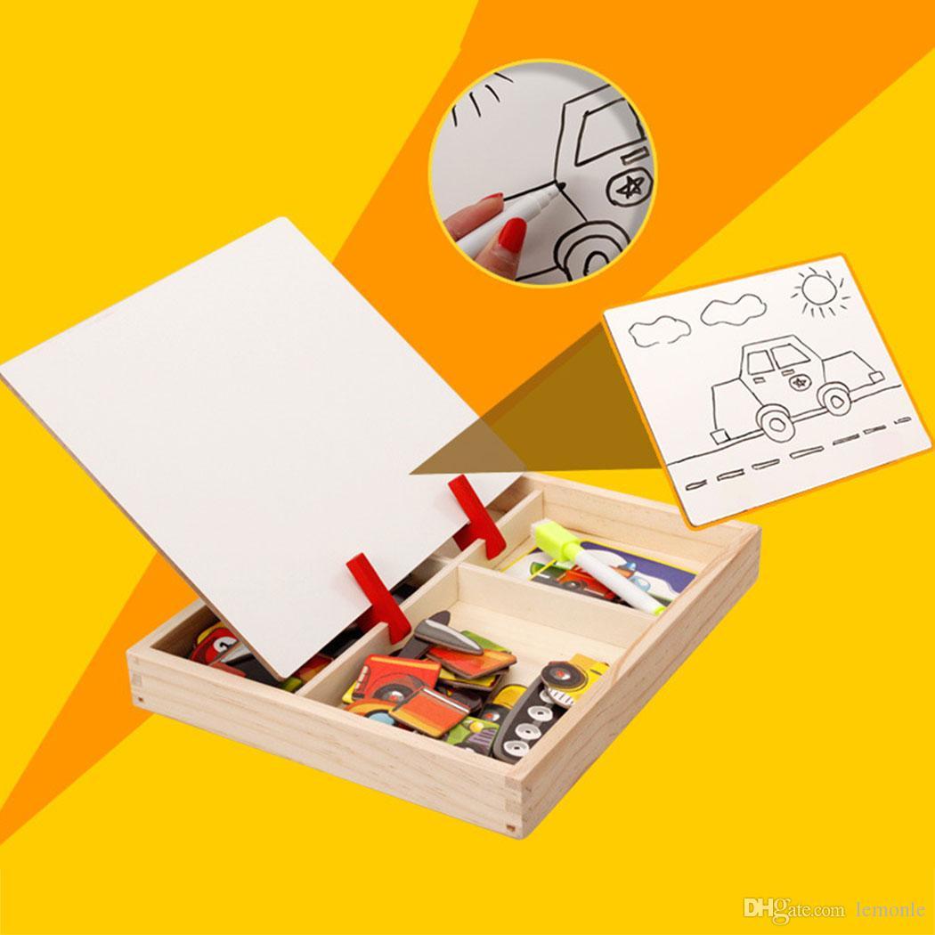 Crianças de madeira Circo Tráfego Transporte Quebra-cabeça de Escrever Placa de Desenho Magnético Quadro Negro Aprendizagem Educação Brinquedos Para Crianças 50 Conjuntos Navio Livre