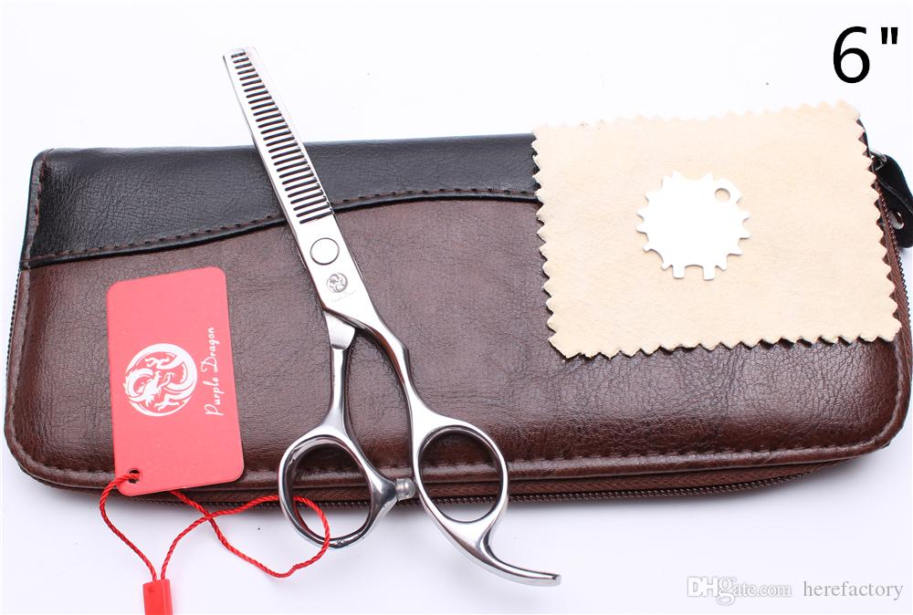 """6"""" JP 440C Purple Dragon Silver Professional Human Hair Scissors Barber""""s Hairdressing Shears Cutting + Thinning Scissors Style Tools Z1006"""