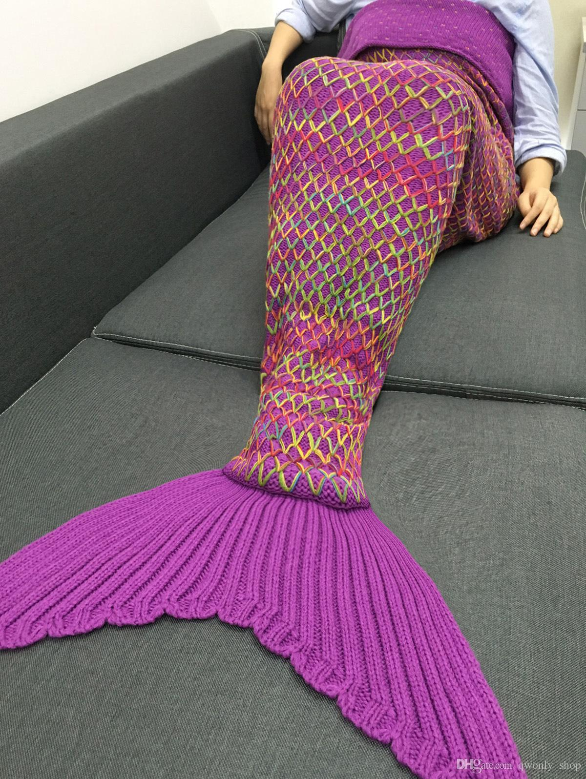 2017 navidad regalo de navidad arco iris sirena manta patrón crochet sirena cola manta adulto hilo de dormir de punto sirena cola 180 * 90 cm