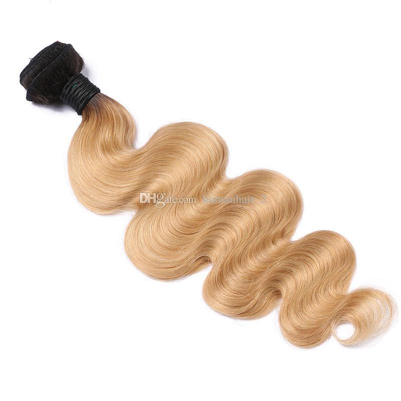 Two Tone 1B 27 Honey Blonde Dark Roots Ombre Body Wave Raw Capelli umani vergini indiani 3 Bundles con chiusura frontale in pizzo pieno 13x4