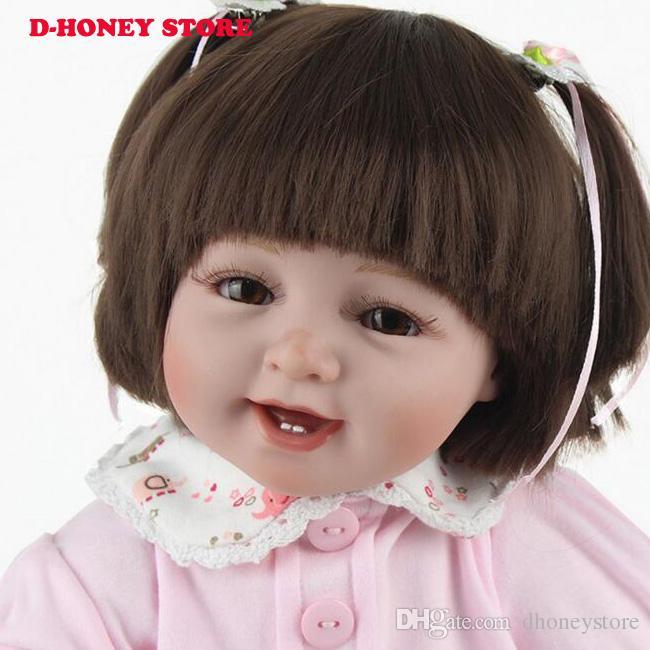 Silikon Reborn Bebek Bebekler 22 Inç Yeni Moda 55 cm Gerçekçi Güzel sevimli yanakları kız elbise giyen Çocuk oyuncakları