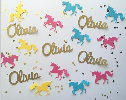 custom glitter name color unicorn confetti wedding table scatters christmas bridal shower bachelorette party decorations festive little mermaid party