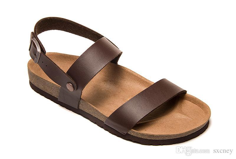 Boyutu: 36-46 Moda Tasarımcısı Mantar Sandalet Yeni erkek ve kadın Rahat Hakiki deri Terlik Yaz Siyah beyaz kırmızı kahverengi Plaj Ayakkabı