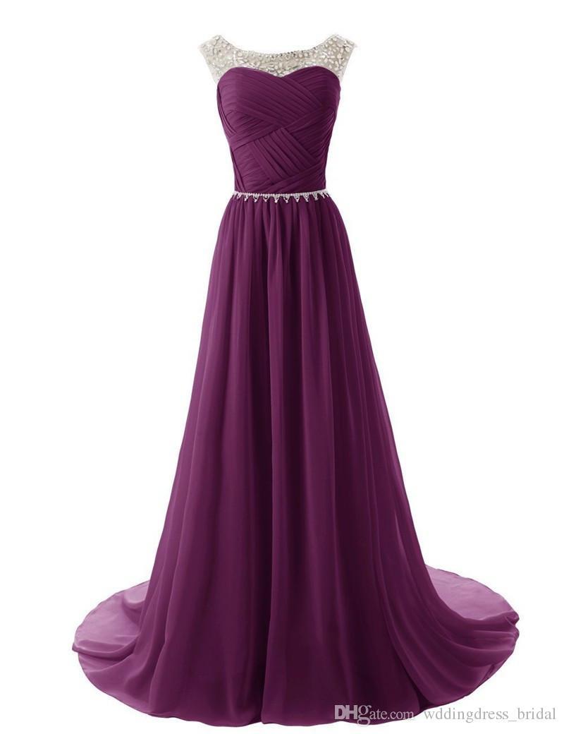 Compre Vestidos De Fiesta De Gasa Púrpura 2017 Vestidos Elegantes ...