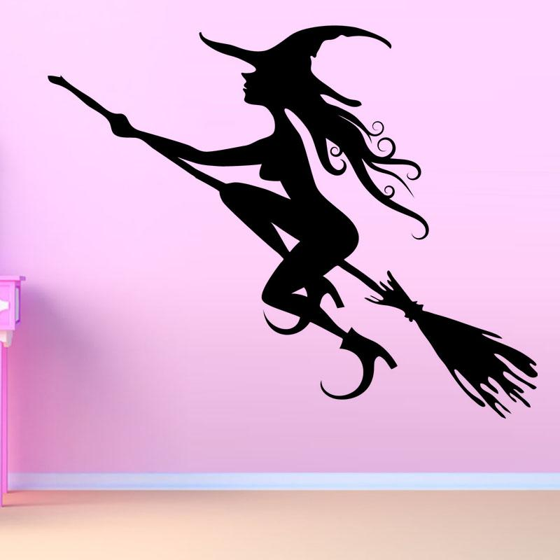 halloween girls room flying witch wall sticker vinyl self adhesive black home decor wallpaper removable wall decals nursery removable wall decals quotes