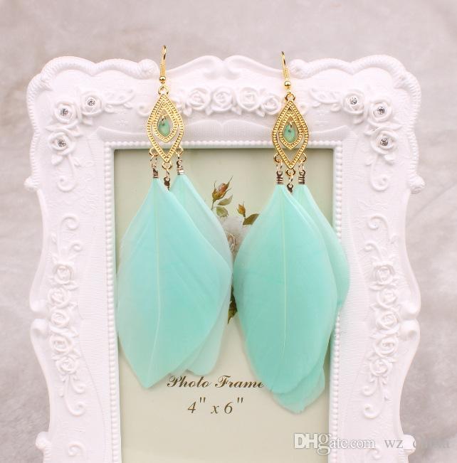 Lange veer oorbellen vrouwen grote kristallen oorbellen zwart wit blauw mode-sieraden voor vrouwen vintage kwasten oorbellen 18K vergulde