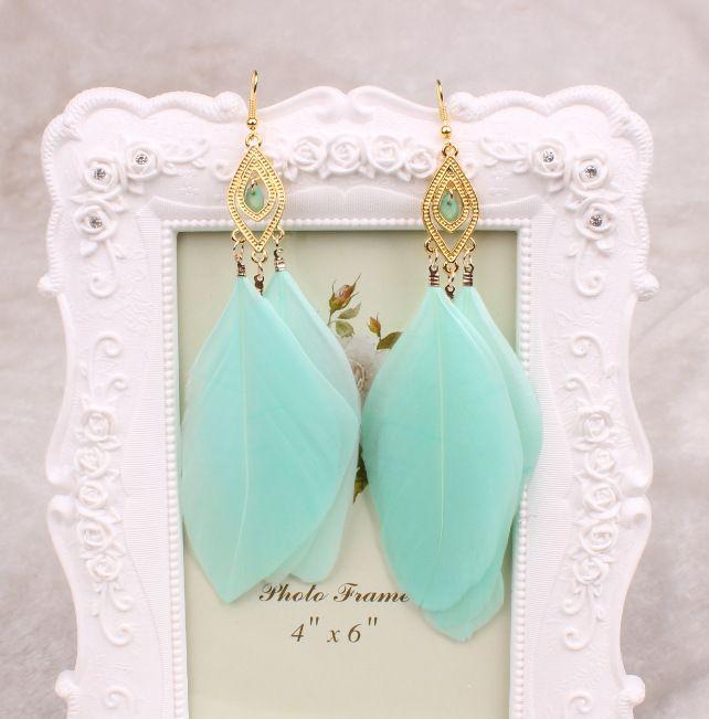 Orecchini lunghi con piume Orecchini grandi con cristalli neri Gioielli bianchi blu le donne Orecchini vintage con nappe 18 carati placcato oro