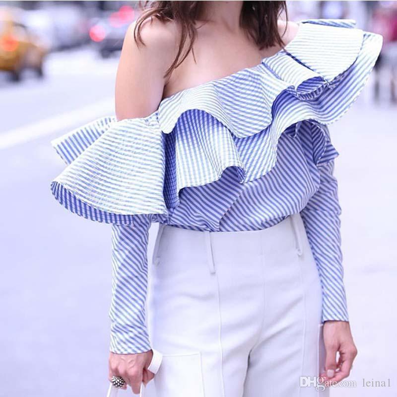 30a041a290d Designer Women s Shoulder Ruffles Striped Casual Blouse Top Shoulder ...