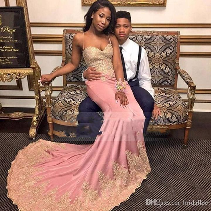 d8f44a783b21 Long Elegant Black Girl Prom Dresses 2017 Mermaid Style Sweetheart  Spaghetti Strap Gold Lace Party African Chiffon Evening Gowns Prom Dresses  Website Prom ...