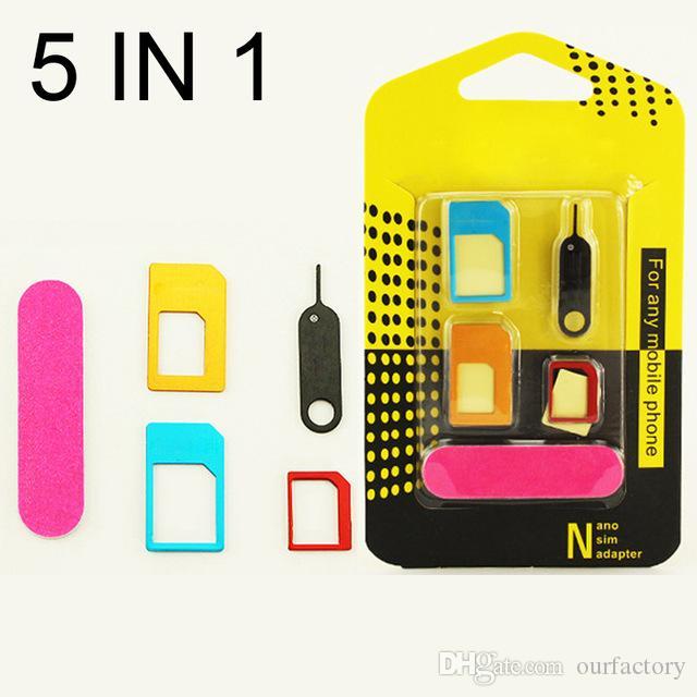 5 in 1 Nano Sim Card Adapters + Regular & Micro Sim + Standard SIM Card & Tools For iPhone 4 4S 5 5c 5s 6 6s 7 Retail Box 500ps