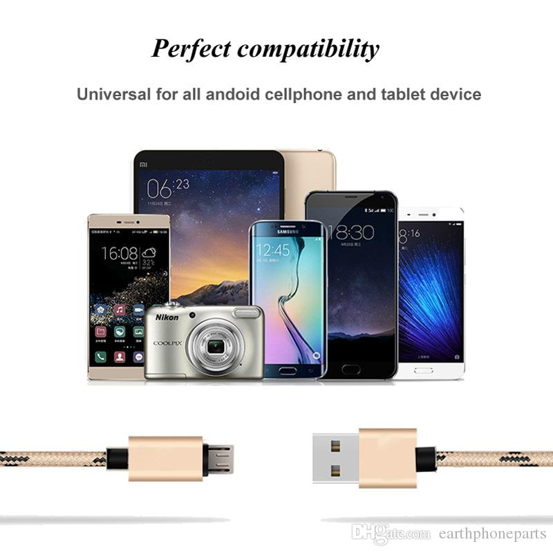 2A Woven Bylon Micro USB Cable Fast Charging USB Charger Cable Data Sync Cable for Samsung Xiaomi HTC LG Android 1M 2M 3M