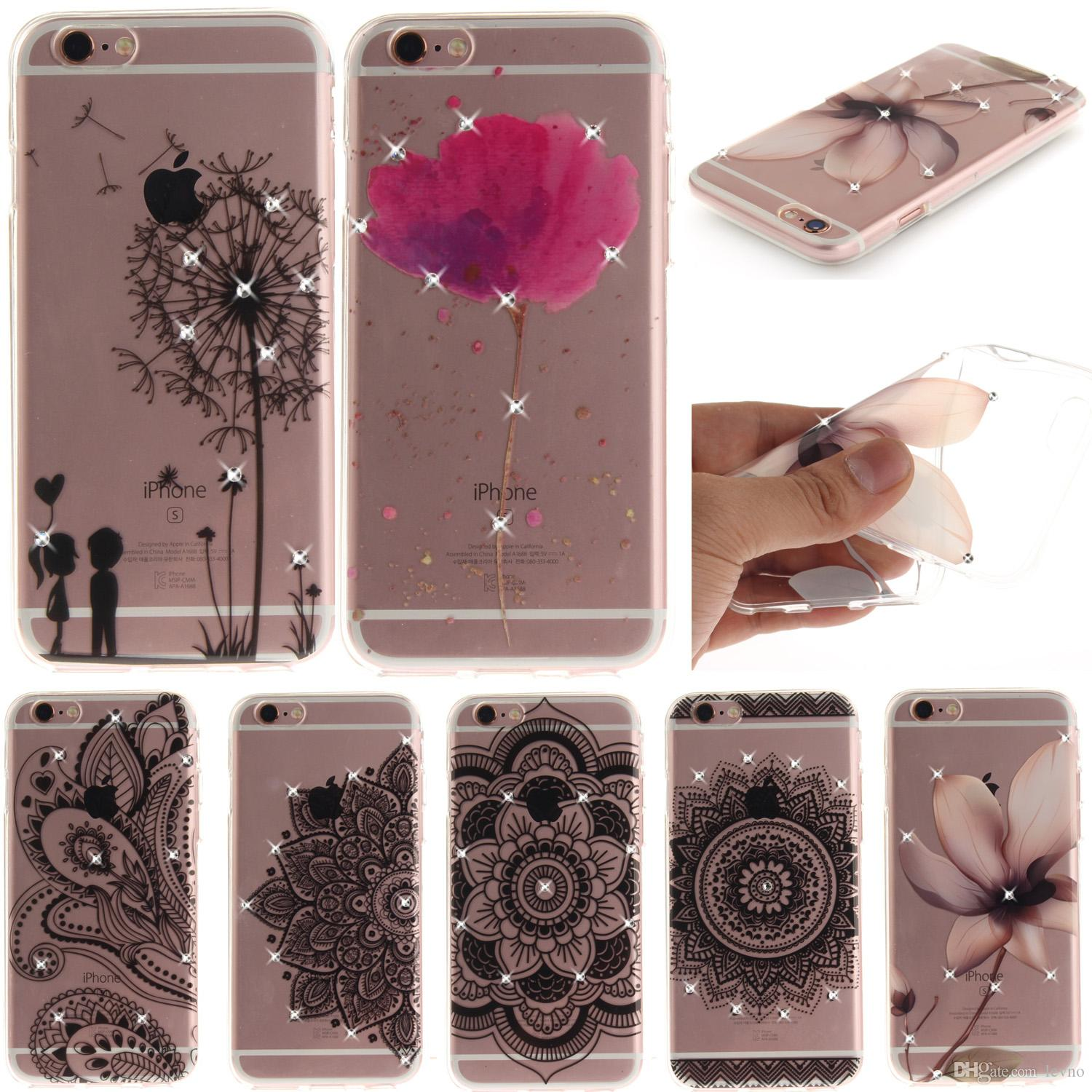 For Iphone 5 Se 6 Case Rhinestone Glitter Silicone Cover Original For Iphone 6s Plus Luxury Crystal Diamond Soft Shell 4 7&5 5 Otter Cell Phone Cases