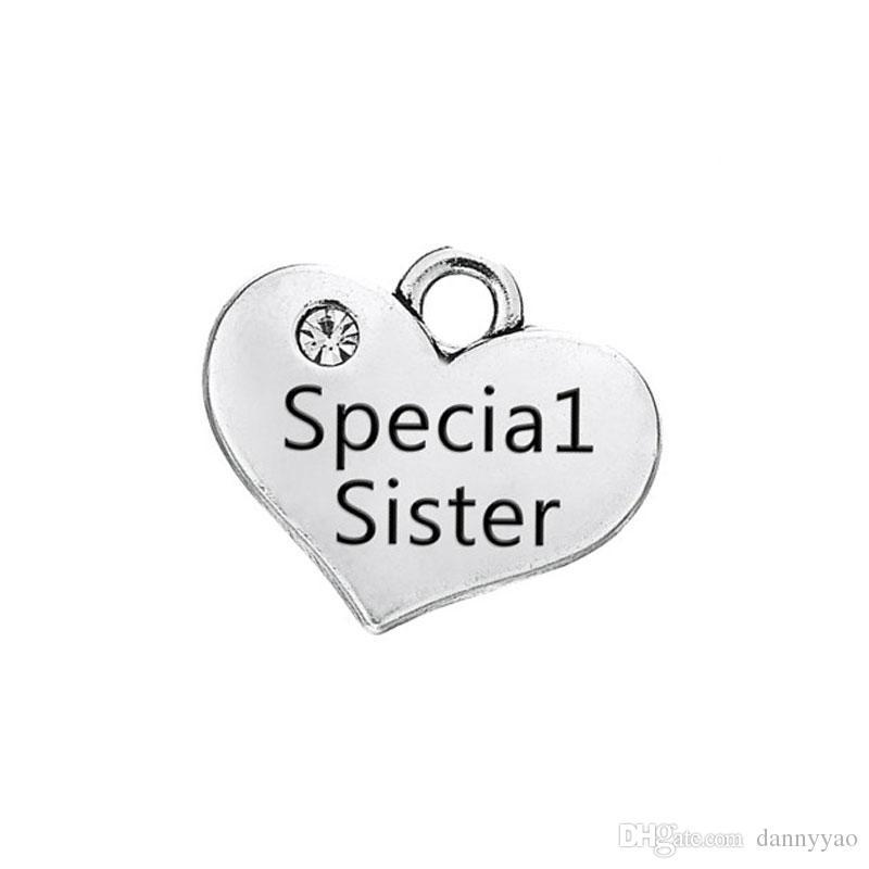 Atacado Vintage Alloy Coração Encantos Irmã Especial, Irmã Mais Velha, Irmã Do Meio Encantos Mensagem Dupla Face Encontrar Encantos 15 * 17mm AAC1615