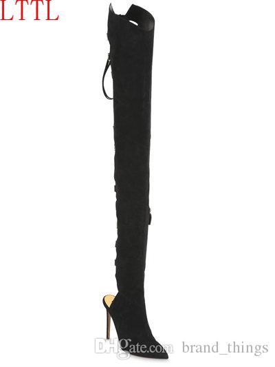 2017 femmes sur le genou hautes bottes de gladiateur talon mince lacets cuisse haute bottes tactiques leatehr été bottillons chaussures sexy mujer botas