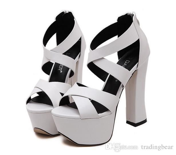 3104b8c7b4c Trendy White Black Cross Strap Platform Thick High Heels Wedding Shoes 13cm  Size 34 To 39 Slippers For Men Loafer Shoes From Tradingbear