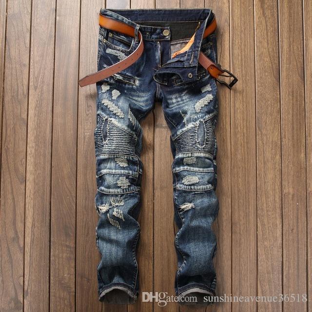 c0bd867a 2017 New Biker Men's Zipper Ripped Jeans Men Slim Fit Straight Moto Punk  Dark Long Pants Mens Jeans Pleated Holes Blue Pants