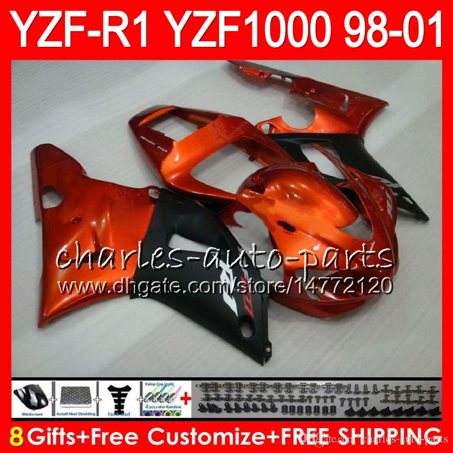 8Gift Body For YAMAHA YZF1000 YZFR1 98 99 00 01 YZF-R1000 61HM6 Orange black YZF 1000 R 1 YZF-R1 YZF R1 1998 1999 2000 2001 Fairing