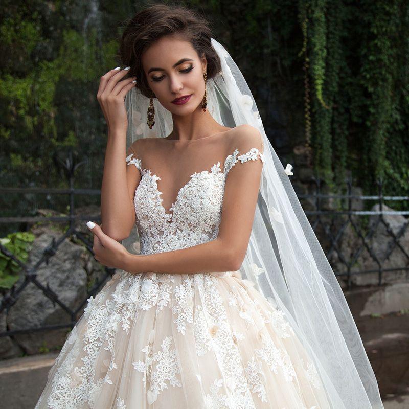 Luxury Lace Ball Gown Wedding Dress Sheer Neck Princess Arabic Muslim Arab Bride Bridal Gowns Custom made