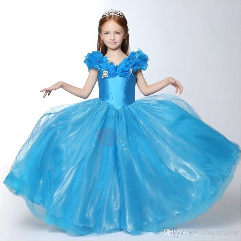 Cinderella Pagenat Gown Little Kids Bridthday Dresses Floor Length Long Off Shoulder Butterfly Zipper Back Custom Modest