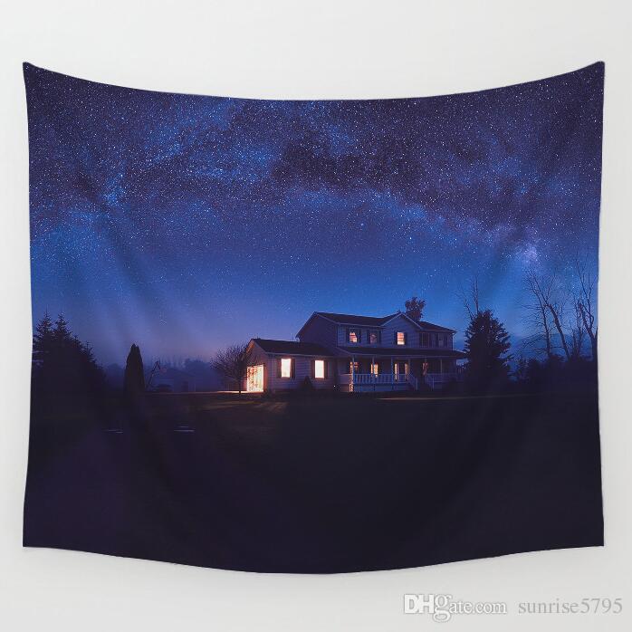 космическое пространство гобелен космонавт Луна звезда настенный искусство ночной пейзаж домашний офис tenture росписи современный ковер