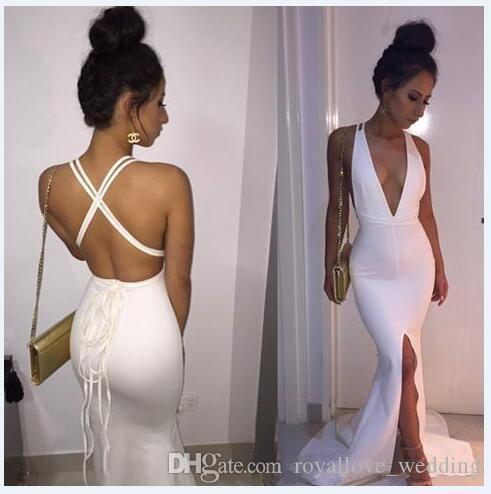 2017 Sexy Evening Dress White Prom Dress Deep V-neck Sleeveless Mermaid Split Dress For Prom New Arrival Cheap Long Prom Gown