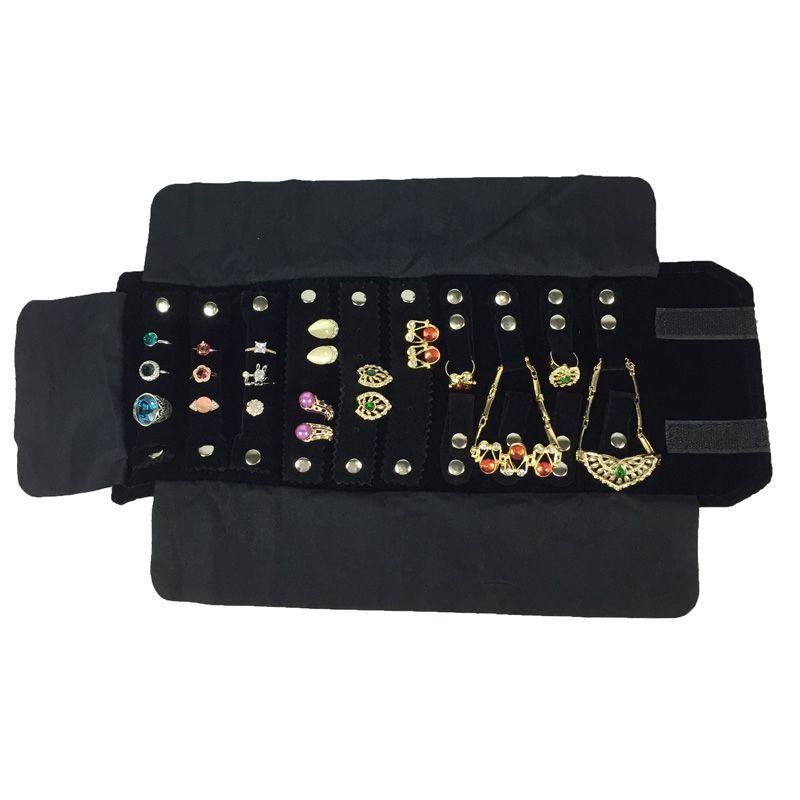 Jewelry Roll Bag For Ring Earrings Organizer Jewellery Storage Bags Portable Pendant Display Cases Black/Grey Velvet 15*10cm