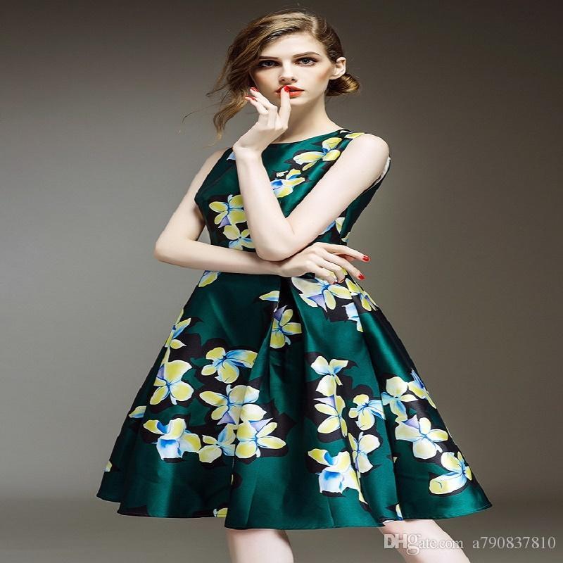 2017 Womens élégant automne nobles dames nouvelle équipez robe rétro mode sans manches render imprimé cultiver robes de la morale NYC129