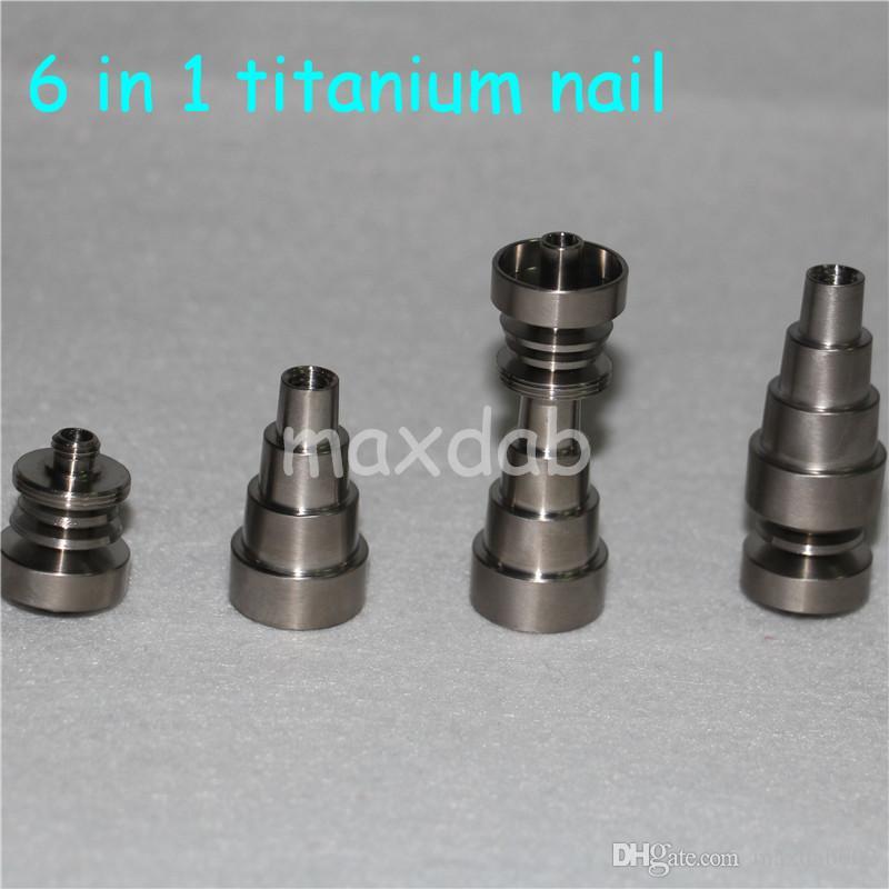Evrensel Titanyum Tırnak 1014 19mm 6 in 1 Ayarlanabilir Erkek veya Kadın ortak Carb Cap Cam boru Bong ücretsiz nakliye için çivi