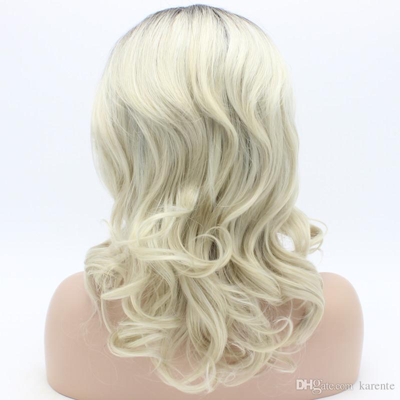 Iwona Hair Wavy Shoulder Length Radice scura Light Blonde White Ombre Wig 19 # T4 / 16/1001 Mezza mano legata resistente al calore parrucca sintetica anteriore del merletto