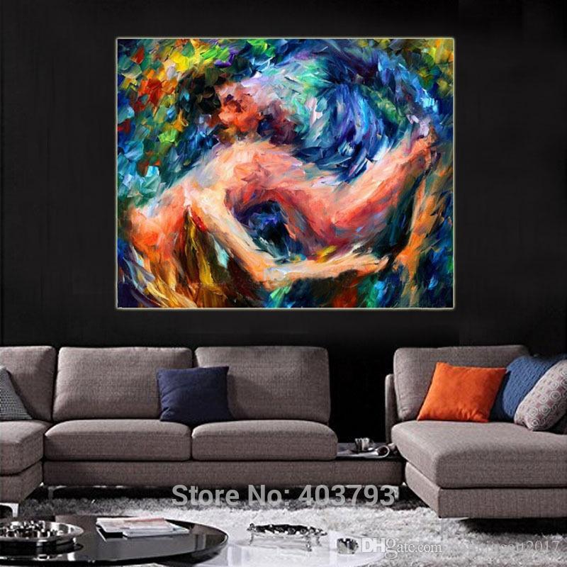 Amoureux nue Sexy art mural Peinture à l'huile peinte à la main Femmes nues images abstraites sur toile art cadeaux de Noël décor à la maison