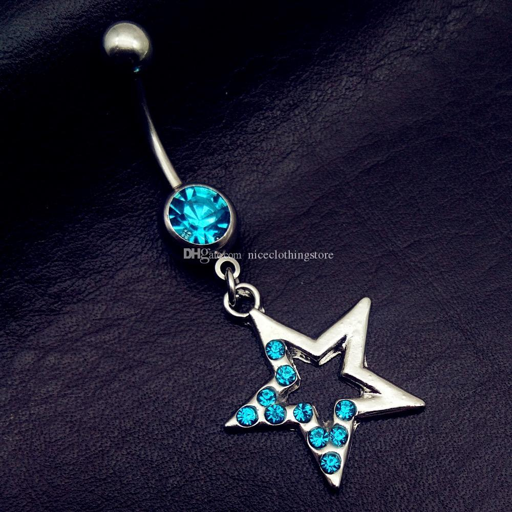 2017 mix style vintage blue star cross anchor tree key lock dangle navel belly bar button rings body piercing jewelry sets