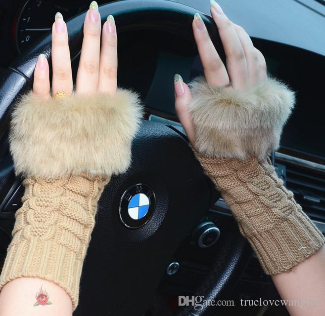 2018 christmas gloves new arrivals women lady winter knitted fingerless faux rabbit fur wrist hand warmer gloves mitten 2036 from truelovewangwu