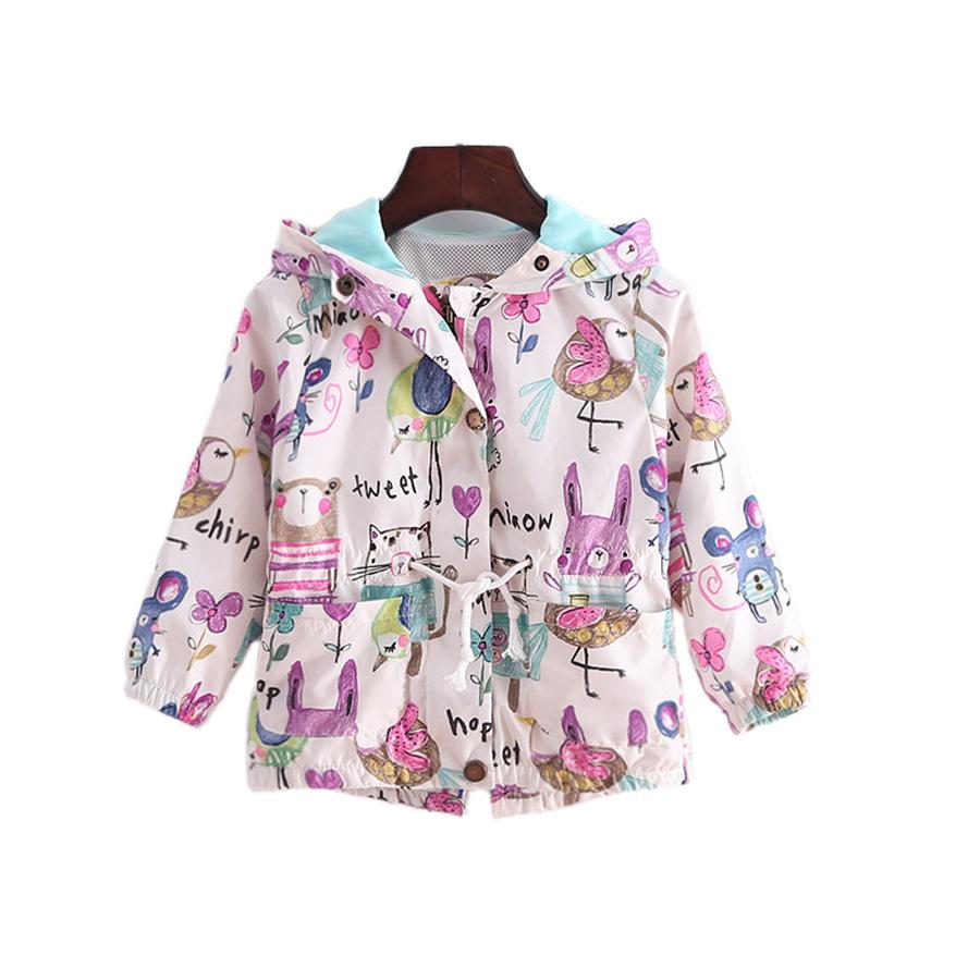 e5d80411e Cute Baby Girl Causal Tench Coat Fashon Cartoon Graffiti Hooded ...