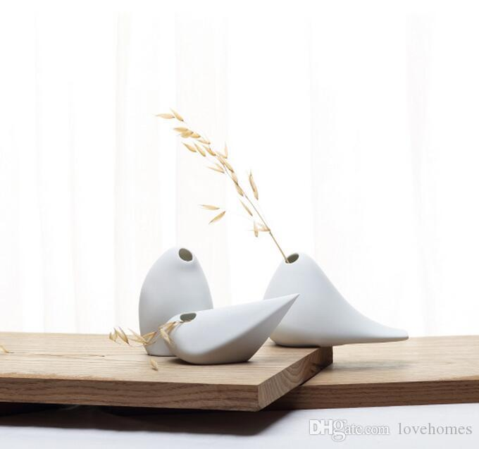 3 teile / los Moderne Vogel Form Keramik Vase für Home Decor Tabletop Vase weißen farben