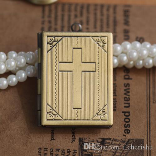 35*27*5MM Silver/antique bronze/rose gold/black gun cross photo locket charms jewelry, metal religious item picture frame pendant wish box