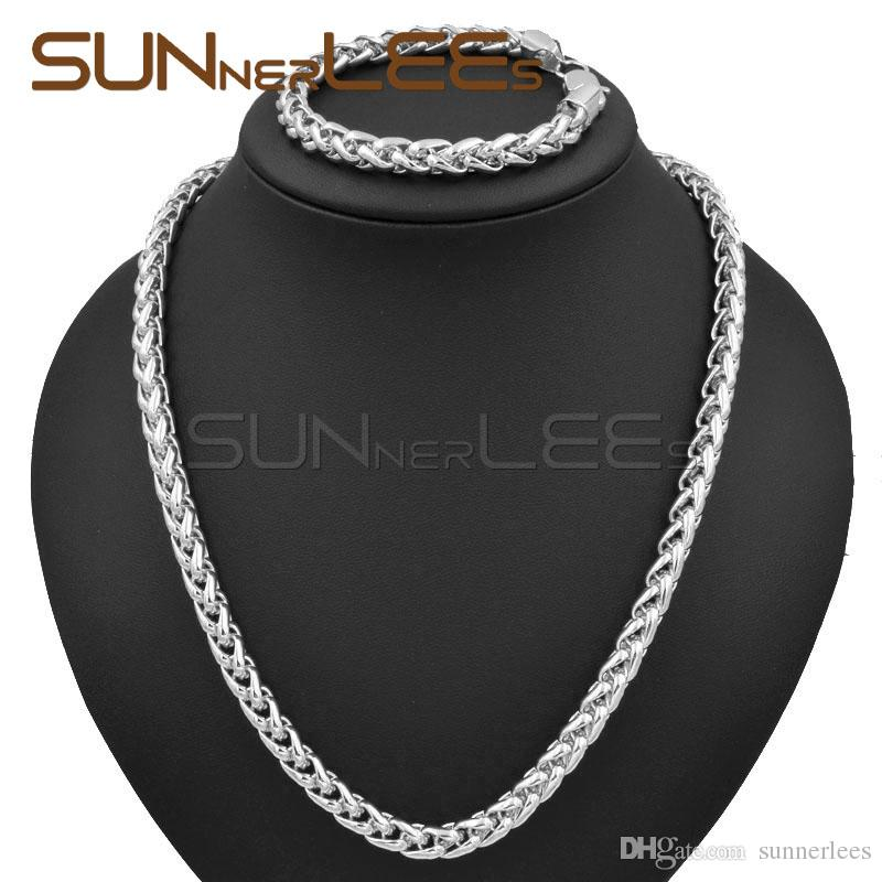 7mm Mens Womens Jewelry Gift Wheat Link Chain White Gold Filled Necklace Bracelet Set C02 WS