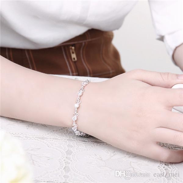 top sale Diamond lobster button 925 silver charm bracelet 8inchs EMB374,women's sterling silver plated jewelry bracelet