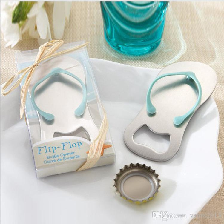 Personalized wedding favors and party gifts the Top Flip-Flop Bottle Opener---Groom and Bride name engraved on it