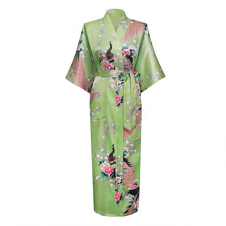 054111f07def 2019 Wholesale Light Green Female Long Night Robe Women S Kimono Bath Gown  Bathrobe Sleepwear Plus Size S M L XL XXL XXXL Mujer Pijama LS0002C From  Avive