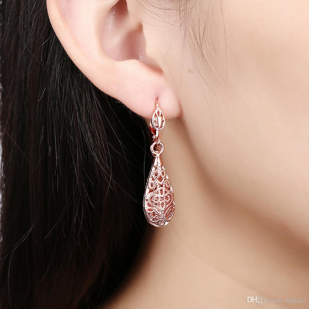 Best Prices Women's Water Drop Shape Earrings 18K Rose Platinum Gold Plated Earrings , High Quality 100% Brand New E112