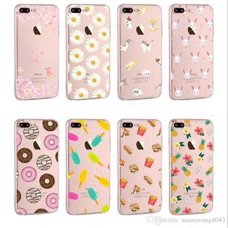 fruit cute cartoon phone case for iphone 7 6 6s plus 5s soft TPU defender  cover case emoji design protector cover case GSZ123