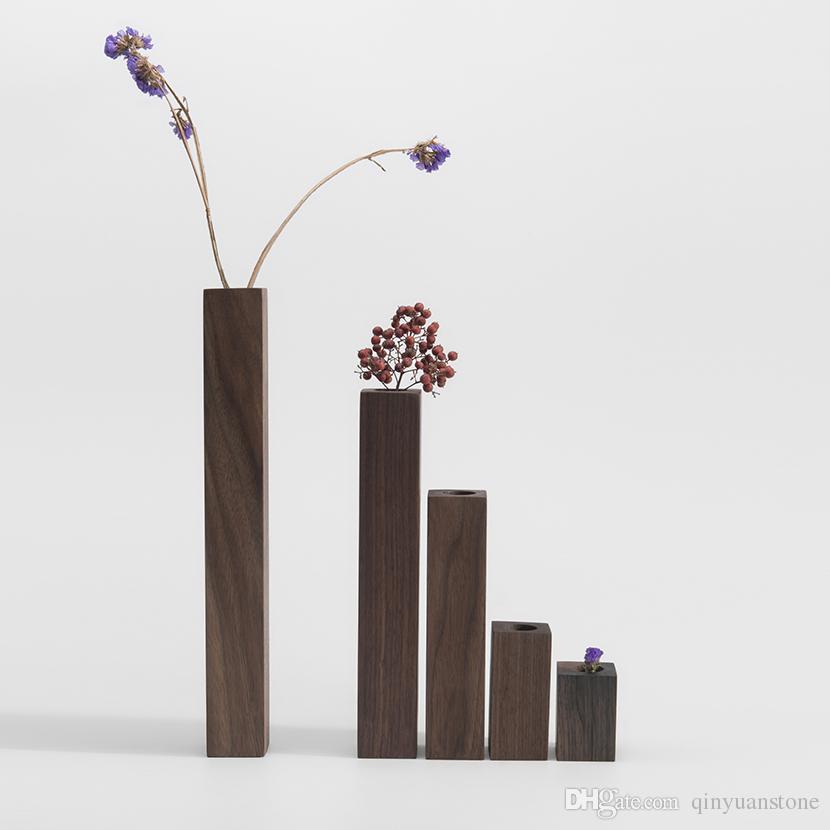 Floreros de madera de nogal negro florero de madera natural floreros decoración del hogar macetas flowr elegante decoración de la barra del banquete de boda