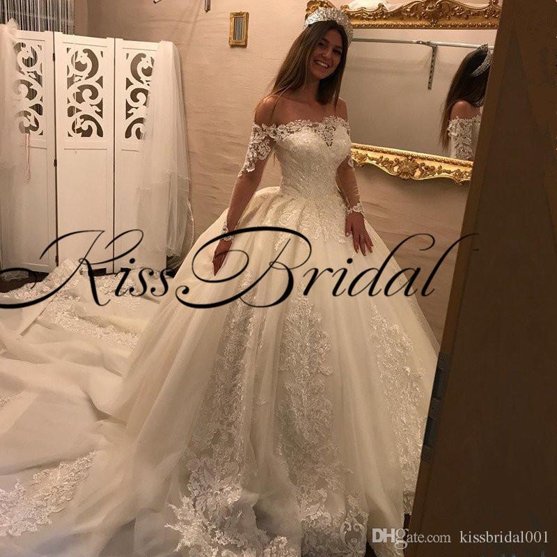 Big Ball Gown Pizzo Abiti da sposa da sposa fuori dalla spalla maniche lunghe Big Treno Treno Big Treno Principessa Dubai Bridal Gowns