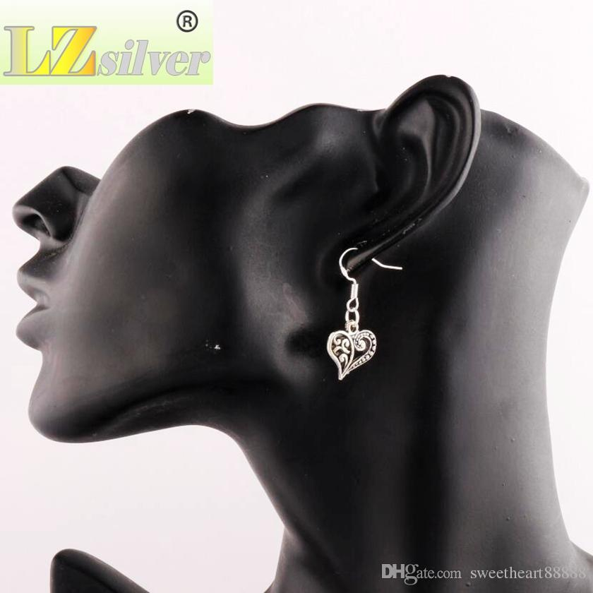 Orecchini mezzo cuore orecchini in argento 925 gancio pesce argento 40 paia / lotto argento tibetano lampadario E919 13.2x31.5mm