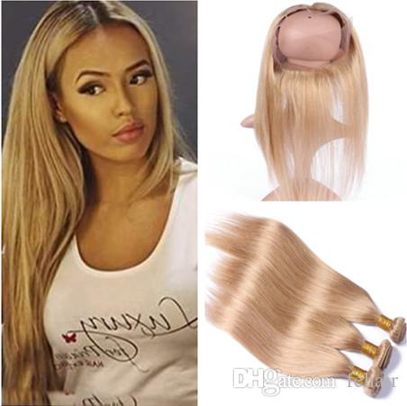 #27 Honey Blonde 360 Lace Frontal Cloure 22.5x4x2 With 3Bundles 4Pcs Lot Virgin Peruvian Straight Light Brown Hair Weaves With 360 Closure